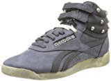 Reebok CLASSIC FREESTYLE HI Grey Leather Women Sneakers Shoes